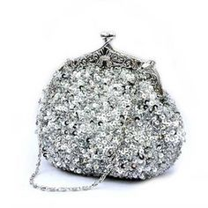 Cute Sequin Clutch, Silver Evening Handbag $23.90 #clutch #handbag