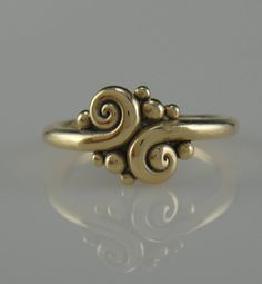 14ky Gold Swirl Ring One of a Kind by DenimAndDiaJewelry on Etsy