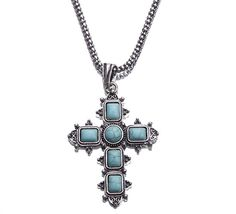 Vintage Cross Shape Tibet Silver Tone Hollow Turquoise Bead Necklace