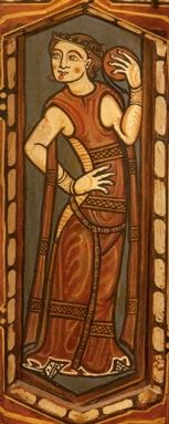 SPANISH DANCER (13th century) From the ceiling of the Cathedral of Teruel. TAMBOURIN