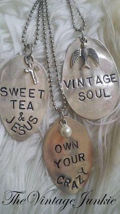 The Vintage Junkie. Silver Spoon Jewelry, Silverware Jewelry, Silver Spoons, Metal Jewelry, Metal Stamping Jewelry, Jewlery, Silver Jewellery, Boho Jewelry, Hand Stamped Metal