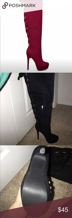 Black High Heeled Boots Black high heeled thigh high boots. Never been worn, perfect condition! ShoeDazzle Shoes Heeled Boots