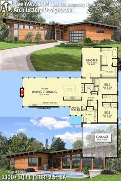 Architectural Designs House Plan 69663AM gives you 3 beds, 2.5 baths and around over 2,100 sq.ft. of heated living space. Ready when you are. Where do YOU want to build? This is gorgeous!!