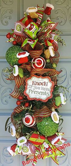 Christmas swag-Deco Mesh Wreath-Santa Swag-Holiday Swag-Christmas Decor-Christmas Door Hanger- Door hanger- by BamaBelleWreaths on Etsy Christmas Swags, Christmas Fun, Deco Mesh Wreaths, Centerpieces, Presents, Unique Jewelry, Holiday Decor, Handmade Gifts, Etsy