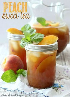 This Peach Sweet Tea recipe combines two delicious southern flavors all in one glass! Fresh brewed tea is sweetened with simple syrup and pureed peaches, then served over ice for a cool, refreshing treat!