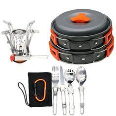 16pcs Camping Cookware Stove Carabiner Folding Spork Set ...