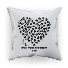 Paw Print Cat Into My Heart Pillow Made in the USA!