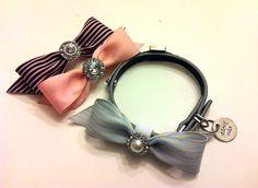 Dog Collar Bling - Rhinestone/Pearl Velcro Bow