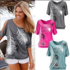 Fashion Womens Summer Loose Printing Tops Short Sleeve Casual Blouse T Shirt