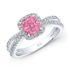 18K WHITE GOLD  SPLIT SHANK  ELEGANT DIAMOND BRIDAL RING FEATURING PINK COLOR ENHANCED CUSHION CENTER DIAMOND TOTALING 1.00 CARAT AND FRAMED BY ROW OF ROUND WHITE DIAMONDS