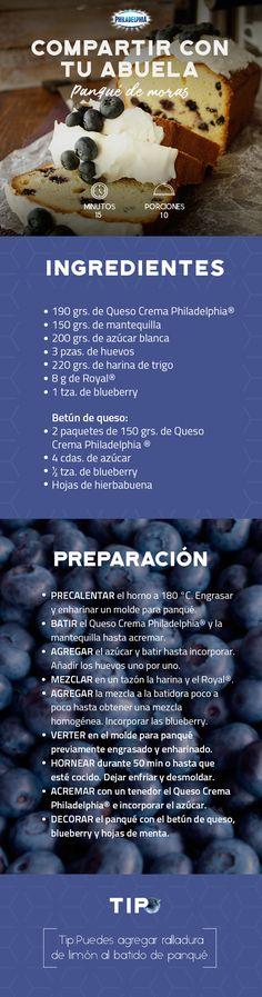 Disfruta una tarde escuchando las historias de tu abuela mientras comparten este Panqué de moras. #recetas #receta #quesophiladelphia #philadelphia #crema #quesocrema #queso #comida #arroz #familia #postre #pan #moras #panqué #desayuno #panquémoras #moras #blueberry.