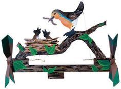 <!-- .style4 {color: #FF0000} .style5 {color: #0000FF} --> Dinnertime Whirligig Plan This great whirligig has lots of motion! Watch when the wind blows as mama bird pivots and the baby birds move up t