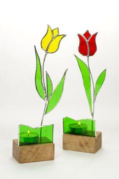Tulip de vidrieras Suncatcher/Tealight candelabros por IvyDesignsUK