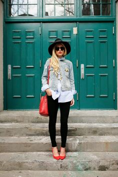 Denim jacket - Frame denim silk shirt - black jeans - red heels- red bag / Atlantic-Pacific
