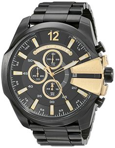 Diesel Mens DZ4338 Mega Chief Black Ip  Watch ** Learn more by visiting the image link.