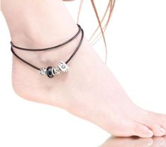 Black and White Murano Glass Charm Beads Leather Anklet. Click Here:   http://www.malalajewelry.com/collections/charm-anklets