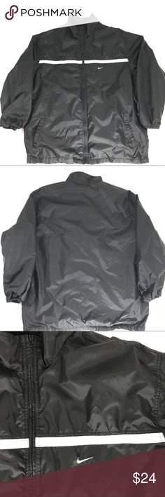 """Mens Nike Windbreaker Lined Jacket Black size 2XL Mens Nike Windbreaker Lined Jacket Black size 2XL Athletic Track  Couple small spots See photos   Measurements  Chest measured arm pit to arm pit 28""""  Length measured middle of back from bottom collar to bottom 33"""" Sleeve length measured armpit to bottom cuff 20.5  Polyester Nike Jackets & Coats Windbreakers"""