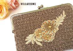 Cartera marrón, bolso romántico, ganchillo, bohemio, boquilla plata, bolso de mano, bordado dorado, flores doradas, boda, nupcial, fiesta