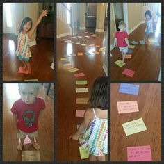 My DIY Life sized trivia board game that runs all through the house with Bracey and Logan. Questions included everything from animals, to shapes, letters, numbers, states, continents, months if the year and days of the week, etc. Just need a dice! We had a blast!!! : ) homeschool.