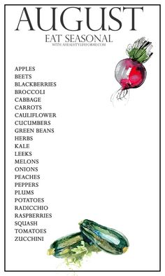 Seasonal Produce Guide for August | ahealthylifeforme.com