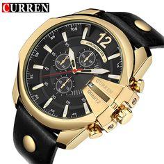 Today Offer $14.27, Buy CURREN Men's Sports Quartz Watch Men Top Brand Luxury Designer Watch Man Quartz Gold Clock male Fashion Relogio Masculino Date