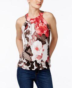 INC International Concepts Petite Floral-Print Halter Top, Created ...