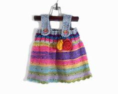 Punto niña vestido de la túnica - gris Multicolor, 9-12 meses