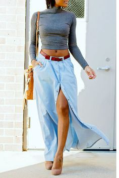 Laid back looks like you in a floppy hat, and the PISTOLA Baez Blue Chambray Maxi Skirt. Chambray fabric with a high-waisted A-line maxi with pockets! Denim Fashion, Fashion Outfits, Womens Fashion, Fashion Trends, Fashion 2015, Trending Fashion, Fasion, Fashion Inspiration, Girl Fashion