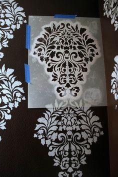 muster wand schablone streichen damask design