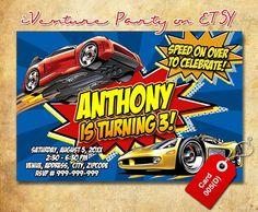 Hot Wheels invitation for Hotwheels birthday by iVentureParty