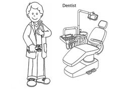 Female Dentist Coloring Page For Kids kids Pinterest