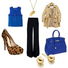 Outfit Obsession: Royal Blue, Leopard and Gold, created by mandajoy166 on Polyvore
