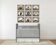 Sports Themed Wall art for boys, Vintage Sports Set of 9 Photo prints ready for framing, baseball, basketball, soccer, football, golf, lacrosse and boxing, Sport Nursery decor, or Man cave wall art