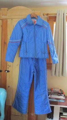 e0e5fe5456 Jean Claude Killy Ski Jacket Bib Overalls Coat Puffy Nylon Snoopy Patch 70s  Blue  JCKILLY