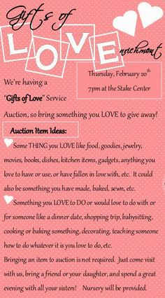 Little Inspirations: Gifts of Love Service Auction - A Relief Society Activity