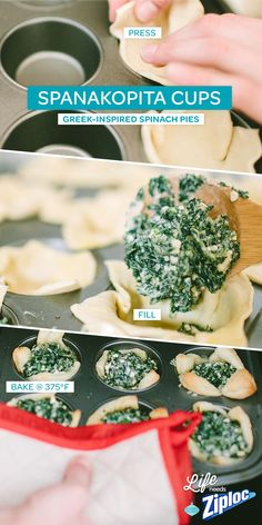 These spanakopita cups from @jojotastic are so easy. Just fill phyllo dough with a mix of spinach, feta, garlic, and greek yogurt. Tip: Bake an extra batch and store them in a Ziploc® freezer bag. They're a great make-ahead appetizer to have on hand for last-minute holiday guests (and you'll spend less time in the kitchen and more time mingling).