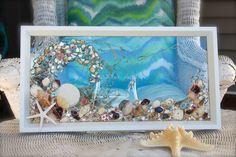 Sea Glass Wave Art for Beach Decor, Nautical Wall Art, Glass Art Made from Seashells for Beach House, Beach Decoration with Seashells by SeaSideCreations1 on Etsy