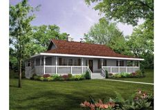 single story house with wrap around porch - Google Search