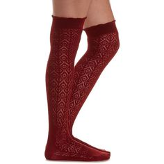 Charlotte Russe Dark Red Diamond Pointelle Over-the-Knee Socks by... ($8.99) ❤ liked on Polyvore featuring intimates, hosiery, socks, dark red, over-the-knee socks, diamond socks, thick thigh high socks, above knee socks and thigh-high socks