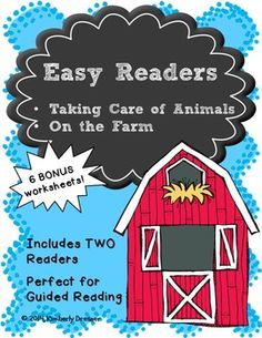 """This packet includes two easy readers using simple sight words and age-appropriate graphics and sentences. One is called """"Taking Care of Animals"""" (about Vets) and the other is """"On the Farm"""" (about Farmers). Each contains a cover, a vocabulary pre-read page, and six pages of easy-to-read sentences and graphics to color.Designed to make copying easy, with black and white pictures (for coloring) and two books on each page for easy stapling and cutting, these easy readers are perfect for…"""