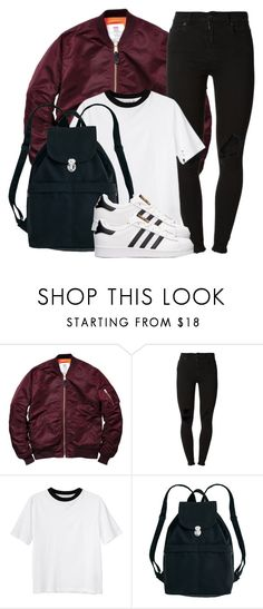 """""""Burgundy and stripes"""" by nae-nae22 ❤ liked on Polyvore featuring (+) PEOPLE, Monki, BAGGU and adidas"""
