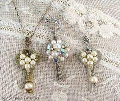Modern key jewelry upcycle craft