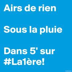 Airs de rien • Sous la pluie • Dans 5' sur #La1ère • Live sur internet > http://www.rts.ch/audio/la-1ere/3262320-la-1ere-en-direct.html • #a2rien #airsderien #chanson #musique #radio #charlestrenet #lamer #la1ère #RTS