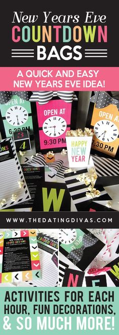 I am SO doing this for New Years Eve! Adorable countdown bags (one for each hour) with fun activities!!! Just press PRINT!!! www.TheDatingDivas.com