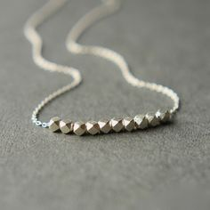 Sterling Silver Nugget Necklace, Faceted Nugget Necklace, Minimal Jewelry Chain Necklace on Etsy, $33.00