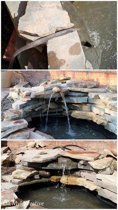 DIY backyard pond and landscape water feature. How to build a pond waterfall step by step. Save a lot of money by building your own backyard pond! Backyard Water Feature, Ponds Backyard, Garden Ponds, Backyard Ideas, Backyard Stream, Pond Landscaping, Landscaping With Rocks, Building A Pond, Diy Pond