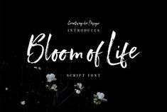 Bloom of Life Script font by Creativeqube Design. Introducing Bloom of Life Script Font. This relaxed natural hand painted brush font is fun and stylish at the same time.  The script includes a full set of lowercase alternates to create that awesome relaxed natural hand written look.  Check out all the previews and try the fonts out below.  International characters supported.