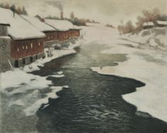 Frits Thaulow (Norwegian, 1847-1906) Winter in Nor, etching