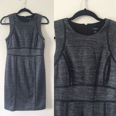 """Ann Taylor size 6p sheath dress, new condition Ann Taylor size 6p sheath dress, new condition. Fully lined, back zipper. Mini houndstooth pattern in charcoal grey and black. Black piping details. Fitted and ultra chic. Chest 35"""", waist 29"""", length 36"""". Ann Taylor Dresses"""