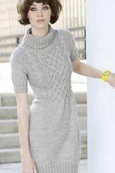 Naisen neulottu palmikkomekko 7 Veljestä   Novita knits